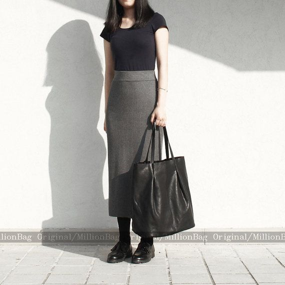 Leather Purse Genuine Leather Tote Shoulder by MillionKnit on Etsy, $146.00