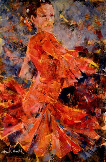 Flamenco In Orange - Painting in Dance Art Gallery