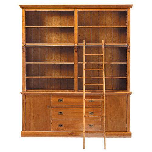 Bibliothèque avec échelle en bois massif L 193 cm
