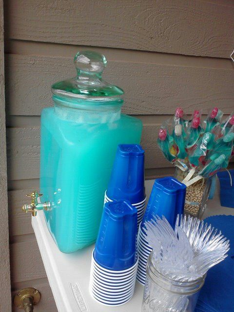 Blue koolaid (or mix grape juice, lemonade and sprite) for shark party