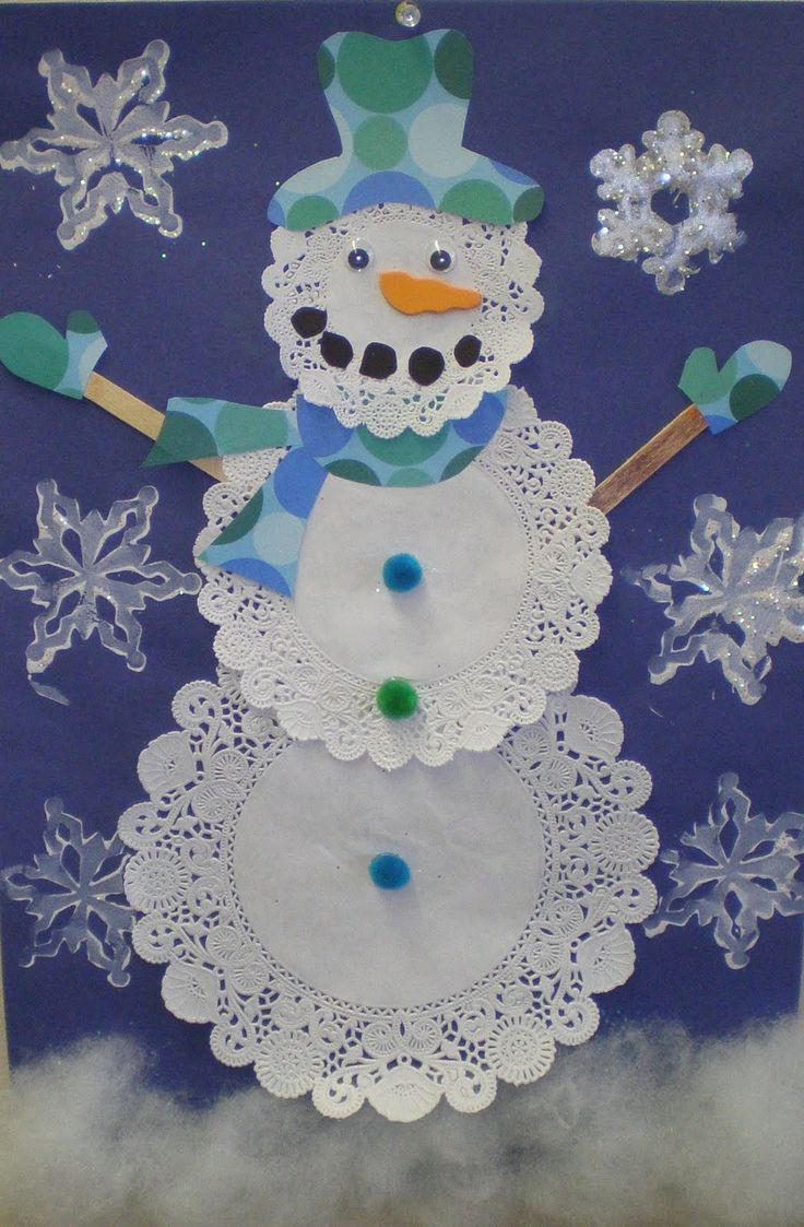 Doiley snowman 3 doilies, 3 pom-poms, 2 popsicle sticks, 2 wiggly eyes, cut out hat, scarf, mittens, mouth, nose from paper, felt, or fun foam