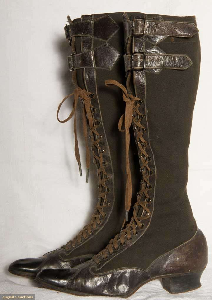 Ladies Sporting Boots, Likely For Riding, Black Wool Faille High Lace Boots With Leather Trim Including Pair  Buckles At Top, Low Louis Heel And Pointed Toe    c.1890