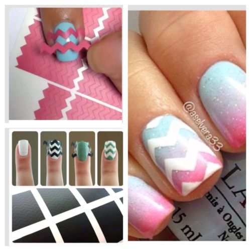 Zig Zag Nail Art StencilsNails Art, Nails Design, Zig Zag Nails, Nail