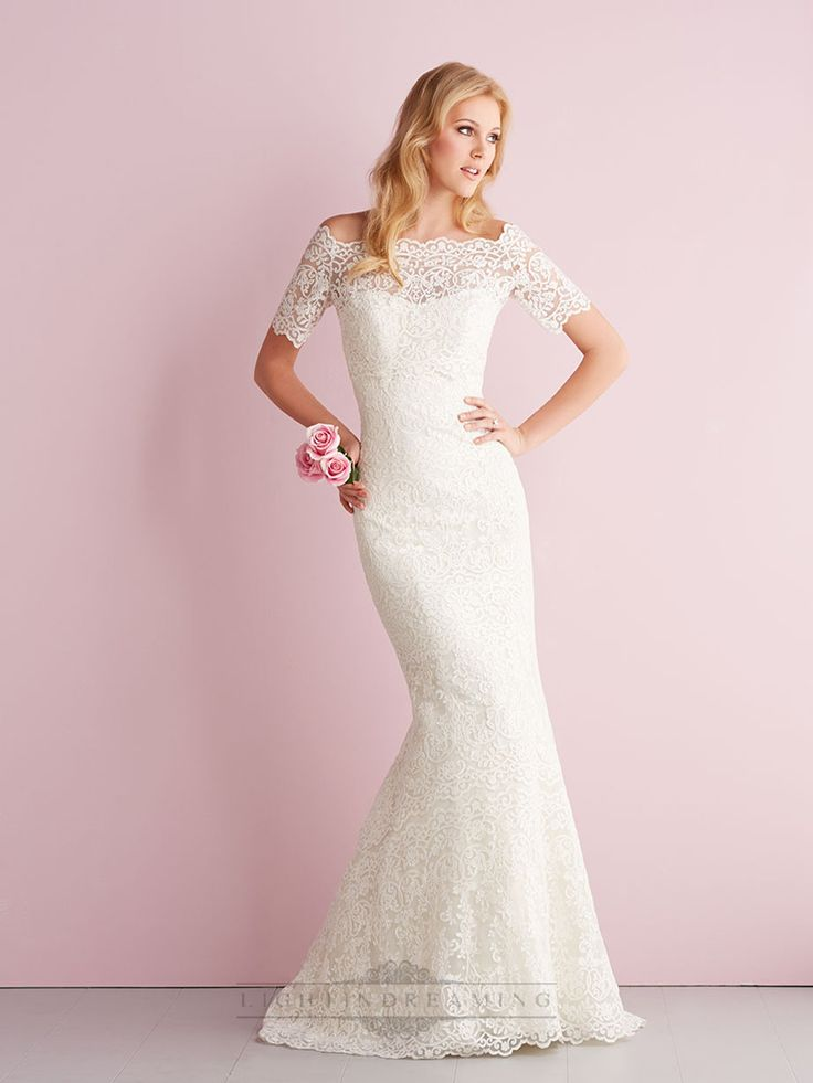 Elegant Off-the-shoulder Short Sleeves Mermaid Lace Wedding Dresses