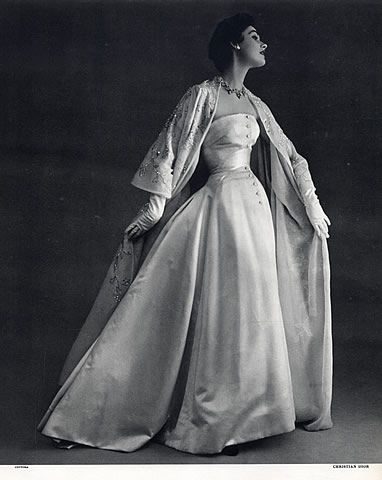 Christian Dior 1953 Evening Gown, Photo Pottier...I love how he so often included jackets and wraps, equally embellished...lovely!