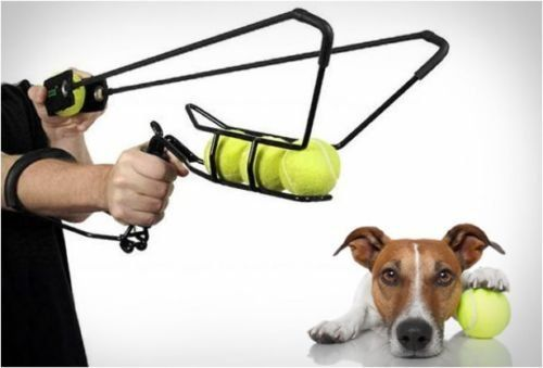 The Best Big Hyper Dog Sling-shot 4 Tennis Ball 220′ Launcher A slingshot that acts as a ball launcher and shoots up to 220 feet.  Easy to use and includes 4 tennis balls.