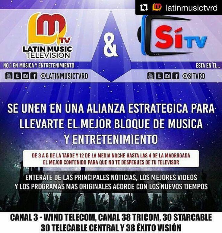 """#Repost @latinmusictvrd  #Repost @sitvrd  @latinMusicTvRD y @SitvRD se unen en una alianza estratégica para llevarte el mejor bloque de música y entretenimiento.  Muy pronto podrás disfrutar de los mejores videos y los programas más originales acorde con los nuevos tiempos además de las principales y más relevantes noticias nacionales e internacionales.  Podrás sintonizar el mejor contenido para que no te despegues de tu televisor.  @LatinMusicTVRD y @SitvRD """"Lo mejor esta por venir""""…"""