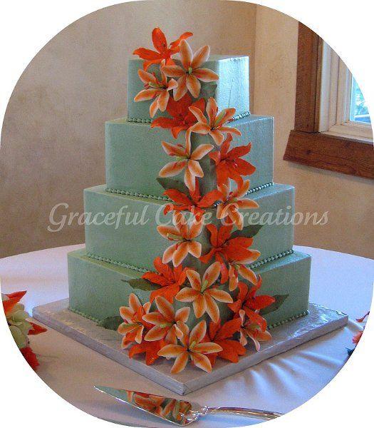 Beach Elegant Garden Summer Green Orange Square Wedding Cakes Photos & Pictures - WeddingWire.com