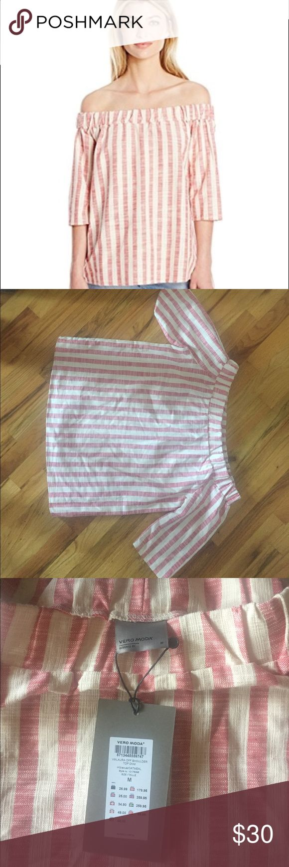 Vero Moda Striped Off Shoulder Bardot Top Vero Moda off shoulder Bardot top. Three quarter sleeves, size medium. NWT. Vero Moda Tops