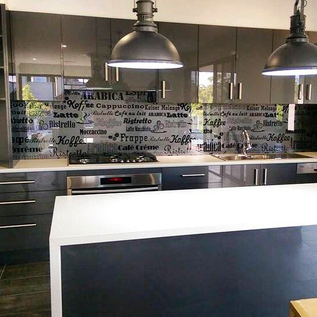 For the love of Coffee ☕️☕️. Custom digitally printed glass Splashback addition #kitchensplashbacks