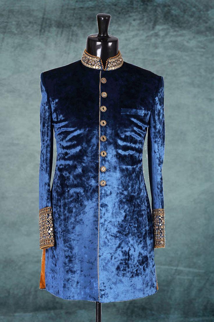 Ink #blue & #gold jodhpuri suede stunning #sherwani with standing collar -IW227