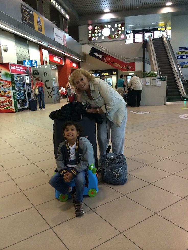 My amazing mom, Georgeta Pavel & My darling son, Avi, In Henri Coanda International Airport of Bucharest, Romania, September 2014