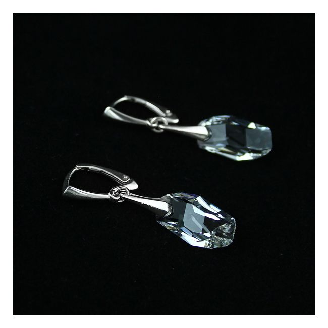 Supercilious.  Silver and transparent Swarovski crystals.