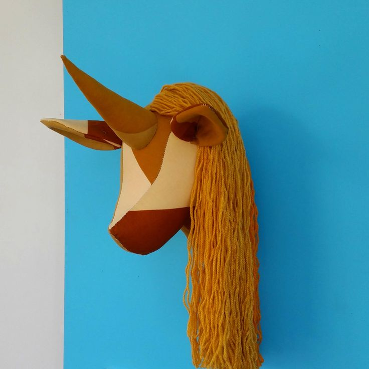 Unicorn head. Mustard and brown recycled fabric. Yarn mane. Retro vintage upcycled curtain. Faux taxidermy. Wall decor. Animal head. by cupcakecutie1 on Etsy