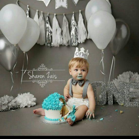 White and Metallic Silver First Birthday Felt Crown, Felt Crown, Birthday Boy Crown, cake smash, 1st birthday, photo prop, baby birthday