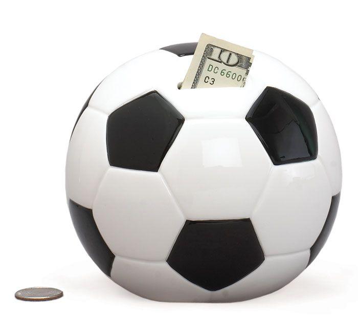 "Soccer Ball Bank Ceramic 5 1/2"""
