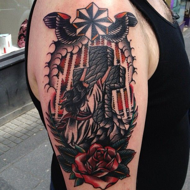Goblet Tattoo On Forearm By Joe Ellis: 37 Best American Traditional Cross Tattoo Images On