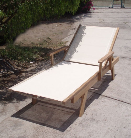 The Banten Collection Commercial Teak/Sling Chaise Lounge - $475: Teak Sl Chaise, Commercial Teak Sl, Chaise Lounges, House Dig, Patio Chaise, Collection Commercial, Fake Pretty, 03 Leisure, Banten Collection
