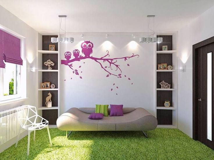 Awesome Coloration Of The Wall Living Room Duckdo Modern White With Purple Flower Can Be Combined