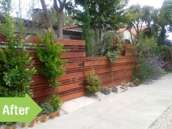 nice fence design and shrubbery before after a much. Black Bedroom Furniture Sets. Home Design Ideas