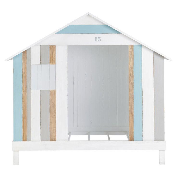 Hüttenbett für Kinder aus Holz, 90x 190cm, weiß/blau  Océan