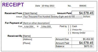 Rental Receipt - Microsoft Excel Template