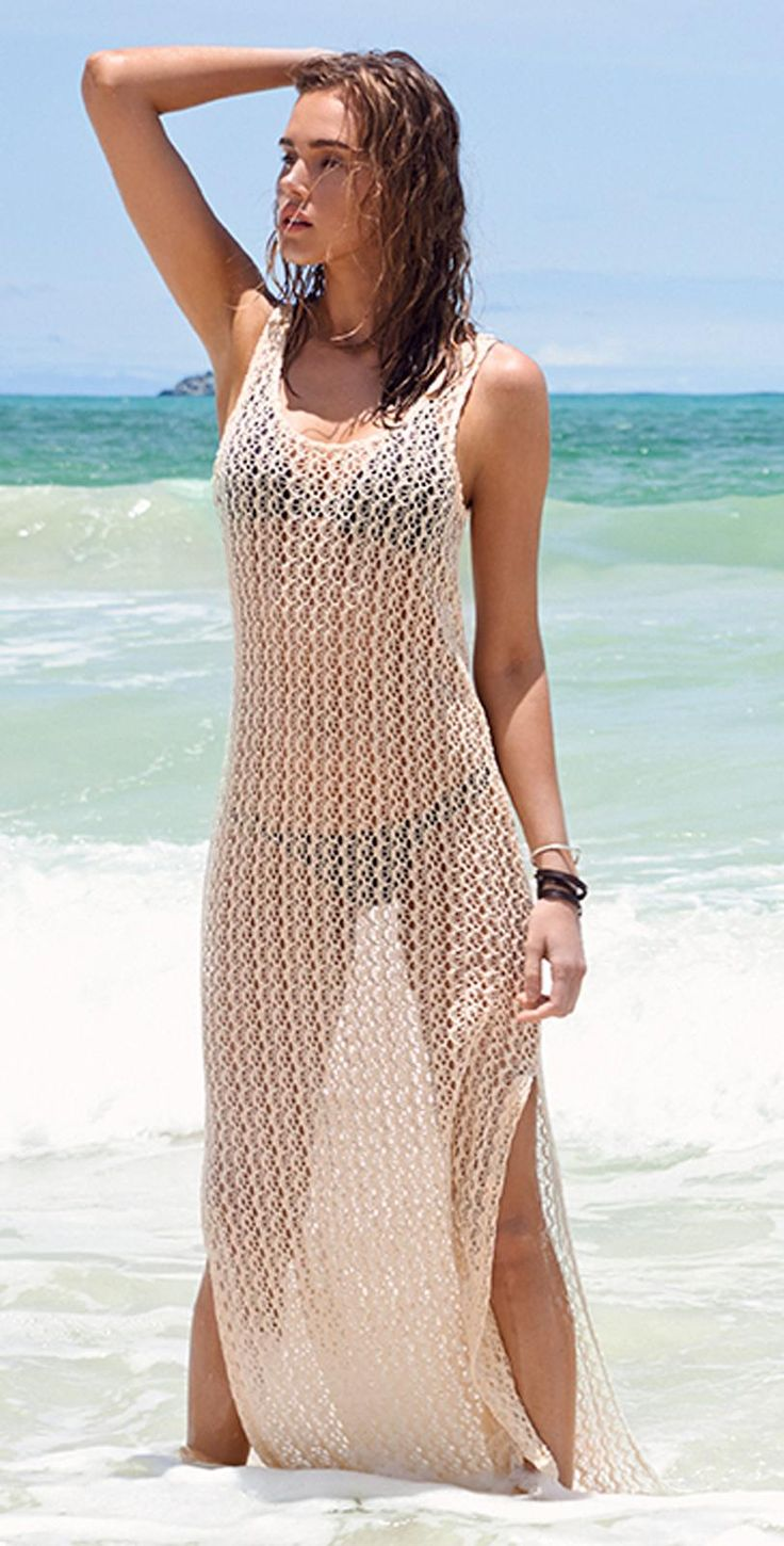 5d1b9e22b0fda L Space Ramona Crochet Natural Cover Up from South Beach Swimsuits Swimwear  is a Maxi tank cover up with removable slip and crochet detail.