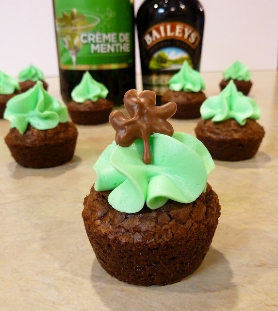 Mint Baileys Brownie Bites (adult treat!) {Boxed brownie mix plus ingredients listed on the box,  Baileys Irish Cream (liquid Irish coffee creamer for non-alcoholic!),   butter,  Creme de Menthe,  confectioners sugar,  chocolate chips, and  vegetable oil}