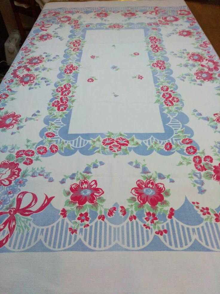 Vintage Flowered Kitchen Tablecloth 50s red, White ,green,blue vintage kitchen,colorful cotton vintage table cover,vintage 1950  floral by HerminasCottage on Etsy https://www.etsy.com/listing/537444971/vintage-flowered-kitchen-tablecloth-50s