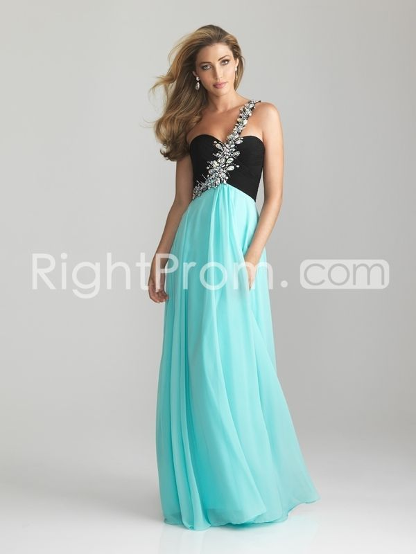 2014 Style A-line One Shoulder Beading Sleeveless Floor-length Chiffon Prom Dresses / Evening Dresses