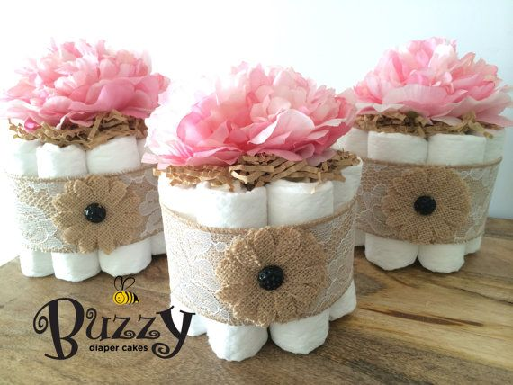 Set of 3 Shabby Chic Lacey Burlap with pink Peony Diaper Cake for Girl Baby Shower by BuzzyDiaperCakes