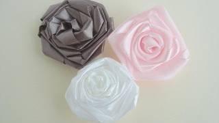 DIY Rolled Ribbon Rose Flower - YouTube DIY Ribbon Flowers