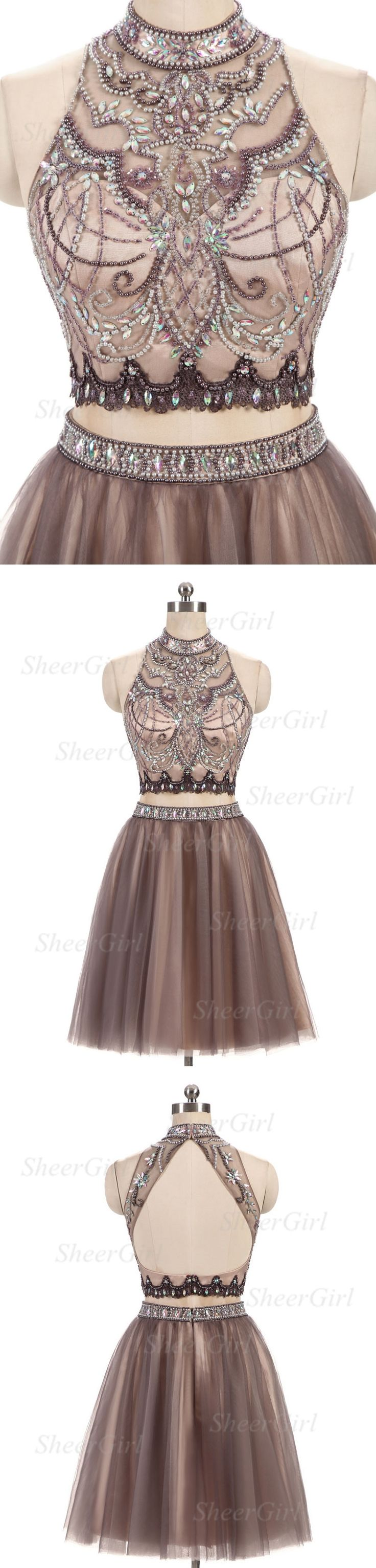 two piece homecoming dresses,beaded homecoming dress,halter homecoming dresses,short prom dress,shinny homecoming dresses,2017 homecoming dress