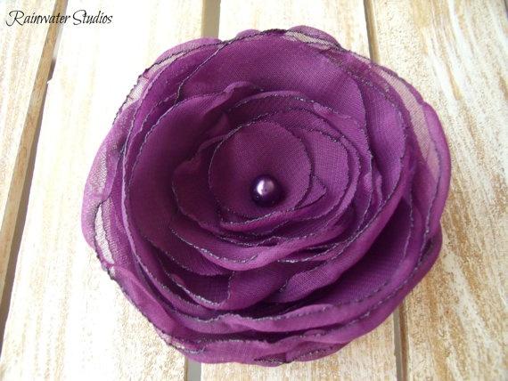 Wedding Hair Flower Mystic Purple RainwaterStudios  $25.00: Flowers Mystic, Wedding Hair Flowers, Wedding Hairs, Purple Wedding