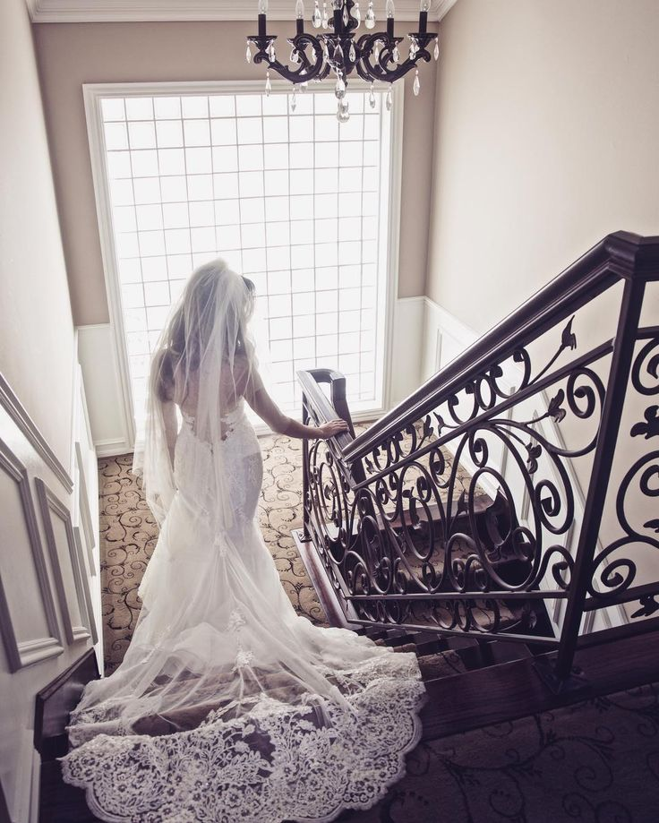 Beautiful low back wedding gown with a long elegant train and veil. #weddingdress #weddinggown #lowback