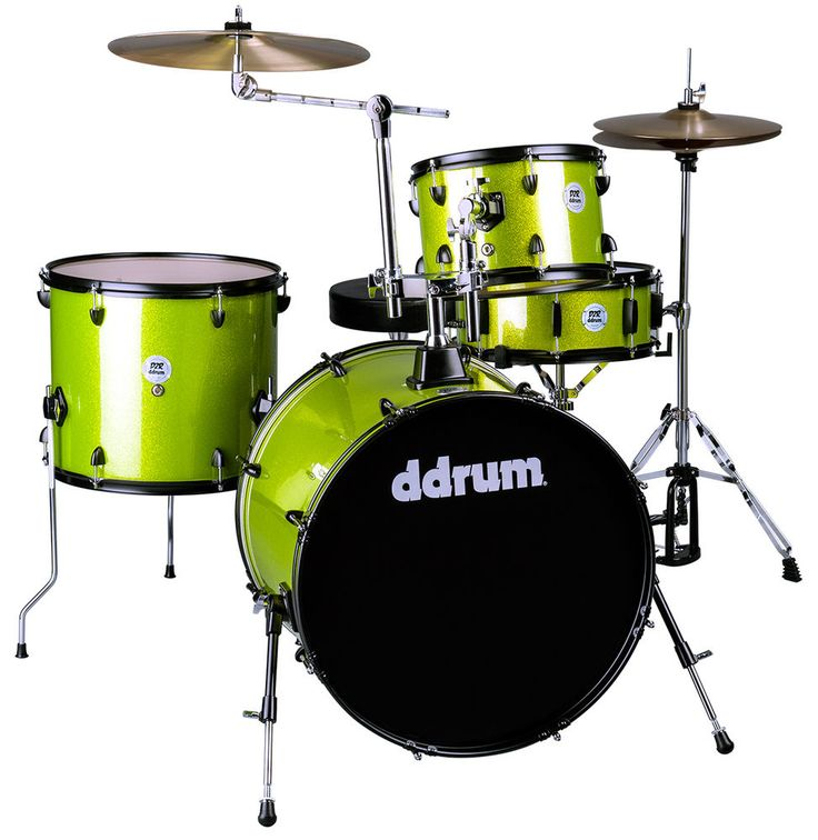 DDrum D2R LIME SPK ROCK LIME SPARKLE FULL DRUM SET W/CYMBALS & HARDWARE & THRONE #ddrum