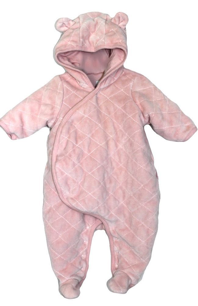 f9a0624013e7 BABY GAP Peachy Pink Snap Up Velour Baby Newborn Snowsuit Bunting 0 ...