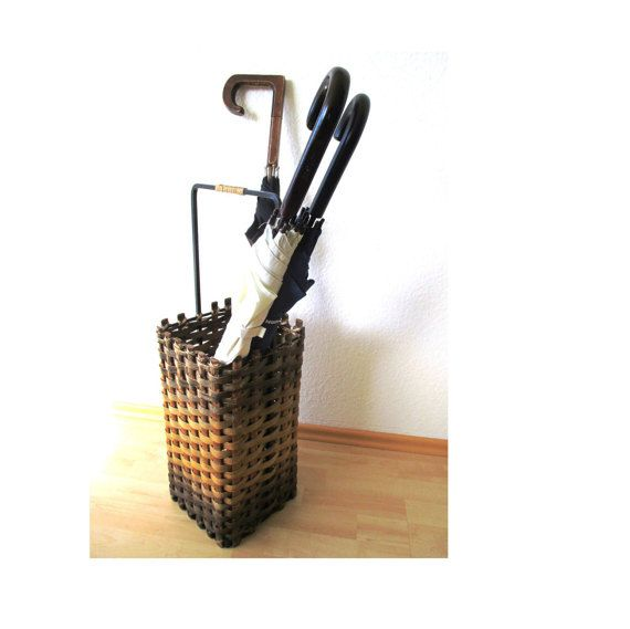 Wicker Umbrella Stand Midcentury Basket by MyBeautifulBavaria