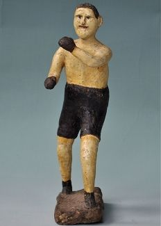 PAPER MACHE BOXER Circa 1930 folky painted pugilist. 10.25 inches tall.  Candlers Art Gallery