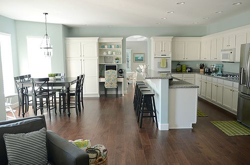 This entire house is my perfect house. I love it all! Color is Rainwashed by Sherwin Williams