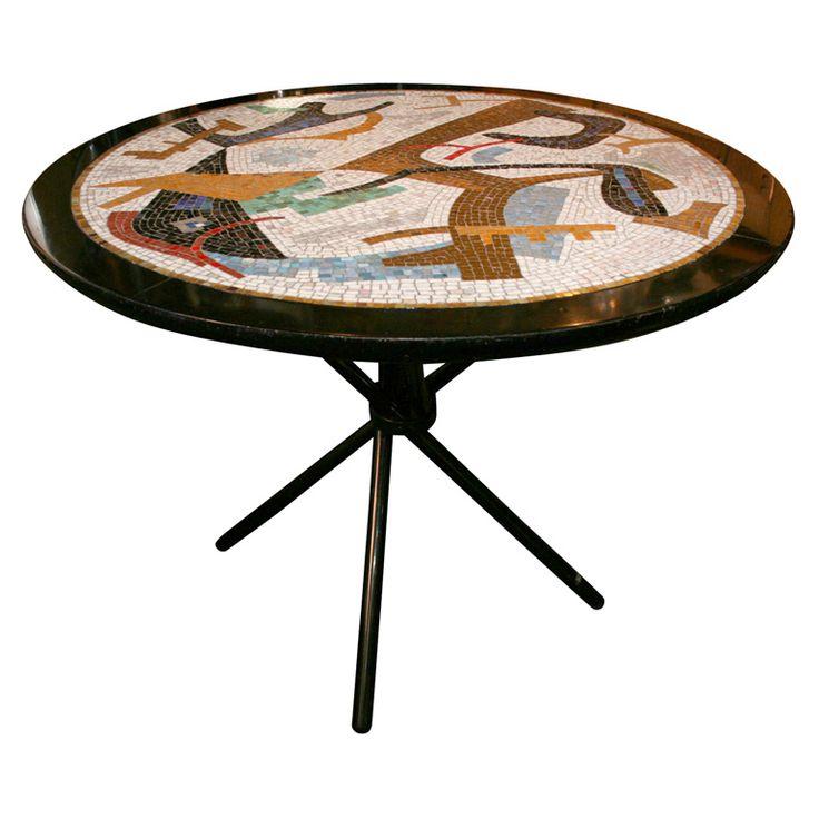 "1stdibs.com | Italian Midcentury Mosaic 42"" Gueridon/Center Table"
