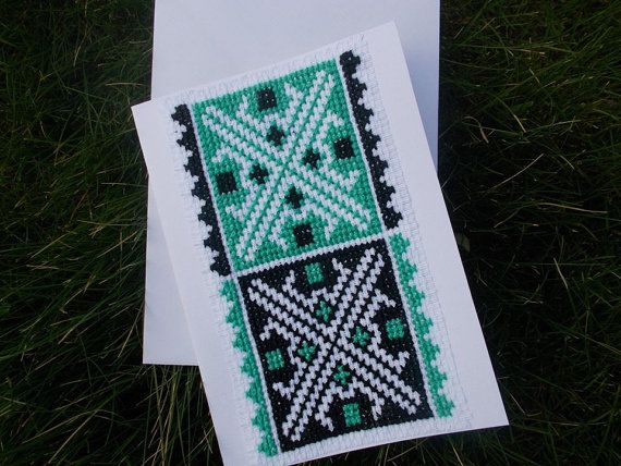 Green black traditional bookmark cross by CamisTheCrossStitch