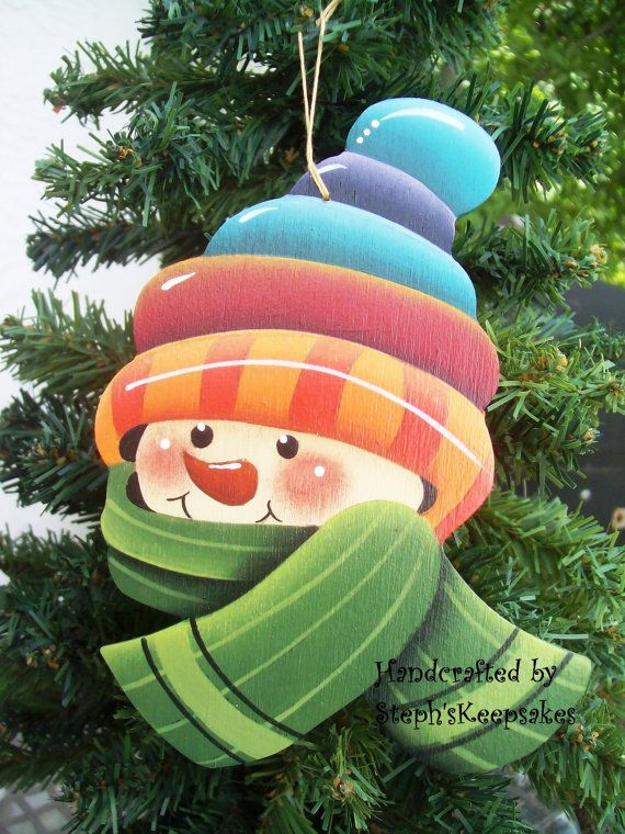 Wooden Hand Painted Snowman Ornament