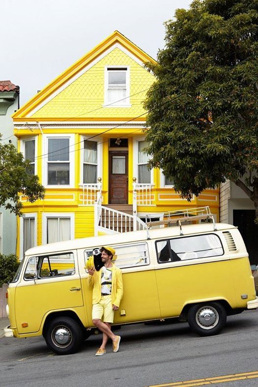 This guy is very happy #yellow  | pinned by www.wfpcc.com #volkswagen bus #vwbus