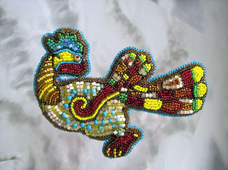 "Брошь ""Павлин"". Создана по рисункам из Книги Кельтов. Вышивка бисером. Brooch ""Peacock"". Created on figures from the Book of the Celts. Beadwork."