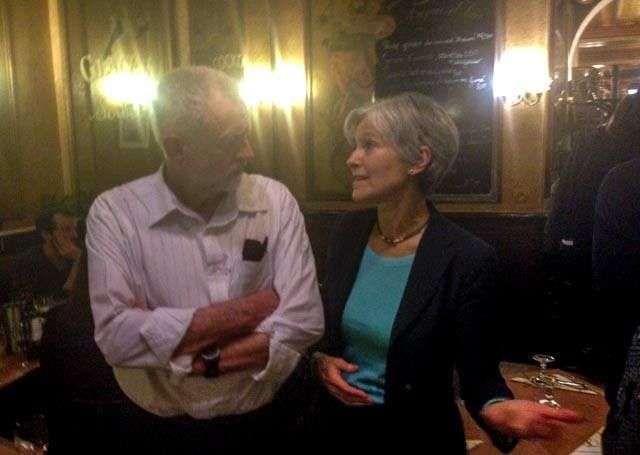 """While in Paris for the COP and after his standing room only forum with Naomi Klein put on by Trade Unions for Energy Democracy (TUED), U.K. Labour Party Leader Jeremy Corbyn asked Dr. Jill Stein to join him at a post event dinner where they spoke of building a transatlantic """"Peace Offensive"""" to end the catastrophic war on terror and stop ISIS in its tracks. Specifically, they agreed to speak further about establishing a a multinational dialog to stop war profiteering and weapons sales, as…"""