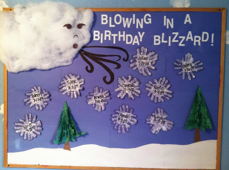 Handprint blizzard winter bulletin board. I used sewing batting for the cloud to make it 3D