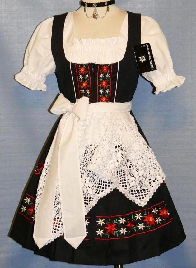 NEW~3pc SHORT BLACK German SUMMER Waitress Party Oktoberfest DIRNDL Dress 38 8 S #DirndlTrachtenHaus #Casual