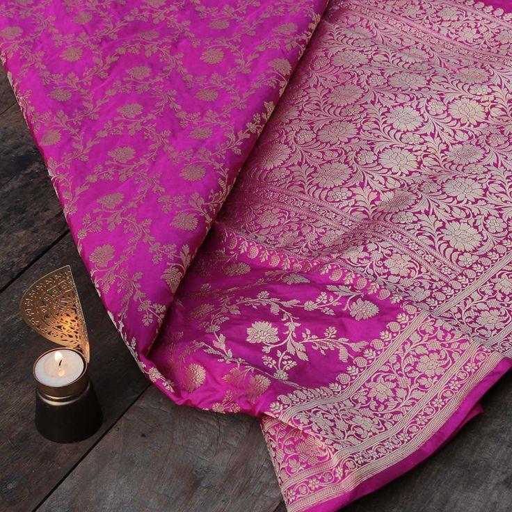 Gulabi Pink Pure Katan Silk Banarasi Handloom Saree - Tilfi