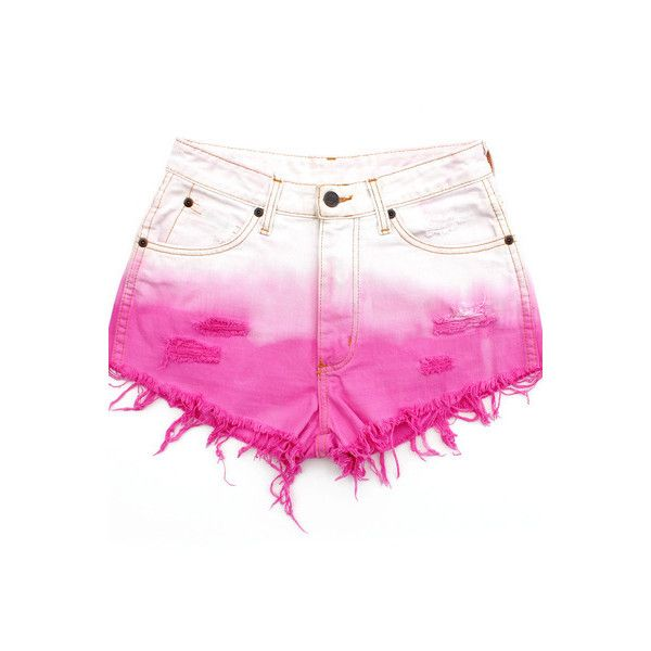 Bubblegum Ombre Pink White Dip Dye Re Worked Vintage Denim Cut Offs... ❤ liked on Polyvore featuring shorts, bottoms, vintage cut off shorts, ombre denim shorts, ombre dip dye shorts, cut off shorts and dip dye shorts